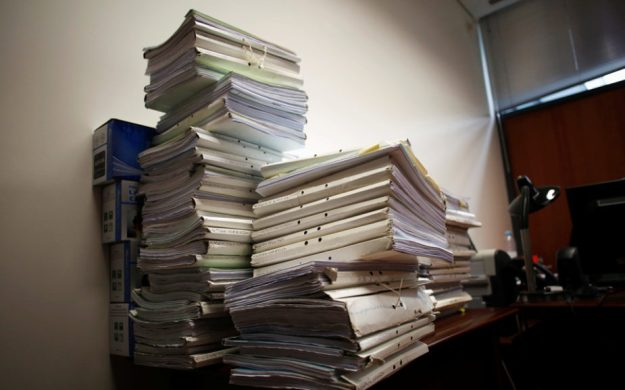 Files are seen in Sintra courthouse in Sintra, Portugal
